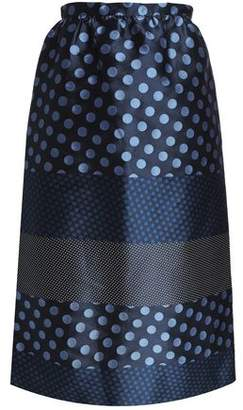 RED Valentino Paneled Polka-dot Jacquard Midi Skirt