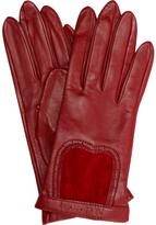 garnet leather suede inset gloves