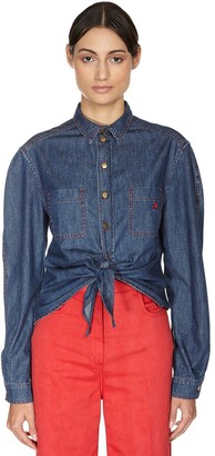 Philosophy di Lorenzo Serafini Self-tie Cotton Denim Shirt