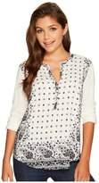 Lucky Brand Printed Henley Women's Long Sleeve Pullover