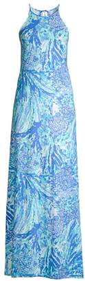 Lilly Pulitzer Margot Abstract Long Halter Dress