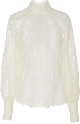 Zimmermann Floral-Embroidered Cotton Blouse