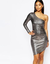 Lipsy Fleur East By One Shoulder Metallic Body-Conscious Dress