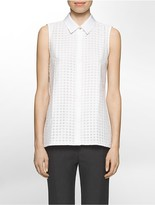 Calvin Klein Sleeveless Windowpane Grid Top