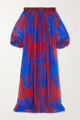 Halpern Off-the-shoulder Sequin-embellished Printed Georgette Maxi Dress - Blue