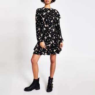 River Island Womens Black floral printed ruffle mini dress