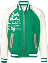 Bally leather varsity bomber jacket