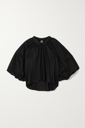 Totême Kerala Oversized Gathered Lyocell And Cotton-blend Blouse - Black