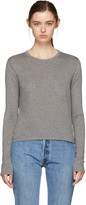 Alexander Wang Grey Long Sleeve Classic Cropped T-shirt