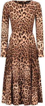Dolce & Gabbana Leopard-Print Long-Sleeve Midi Dress