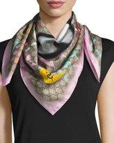 Gucci Silk Square UFO Scarf, Pink/Multicolor