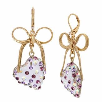 Betsey Johnson Heart & Bow Drop Earrings