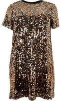 River Island Womens Plus gold sequin T-shirt dress