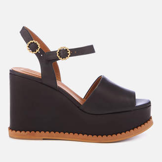 See by Chloe Women's Carrie Leather Wedge Sandals - Black