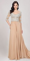 Terani Couture Damask Beaded Chiffon A-line Evening Dress