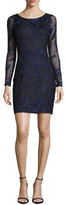 Aidan Mattox Long-Sleeve Beaded Floral Cocktail Dress, Navy