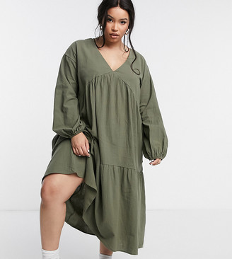 Lola May Curve tiered smock dress in khaki