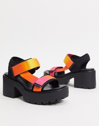 Vagabond Dioon chunky sporty heeled sandals in pink ombre