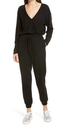 Fraiche by J Faux Wrap Knit Jumpsuit