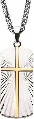 Unbranded Men's Stainless Steel Cross Dog Tag Pendant Necklace