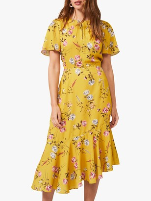Phase Eight Cecily Floral Print Asymmetric Hem Dress, Citrine