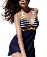 IWISHME Womens Padded Vintage Navy Stripe One Piece Swimsuit (M, )