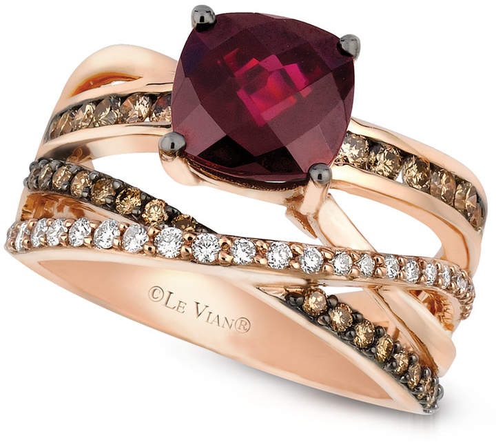 LeVian Le Vian Raspberry Rhodolite Garnet (2-3/4 ct. t.w.) and Chocolate and White Diamond (3/4 ct. t.w.) Ring in 14k Rose Gold, Created for Macy's