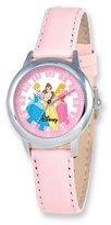 Disney Princess Kids Pink Leather Band Time Teacher Watch