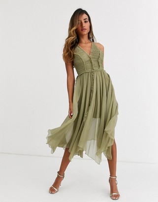 Asos Design DESIGN ruched bodice soft cami midi dress with raw edge detail-Green