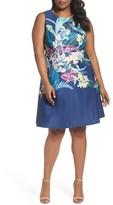 Adrianna Papell Plus Size Women's Scuba Fit & Flare Dress