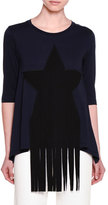 Stella McCartney Half-Sleeve Star-Patch T-Shirt W/Fringe, Ink