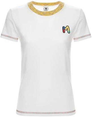 M Missoni Logo Embroidery Cotton Jersey T-Shirt