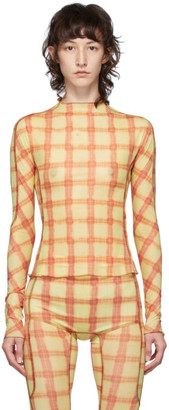 Charlotte Knowles Red and Yellow Big Check Long Sleeve T-Shirt