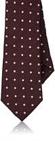 Barneys New York Men's Dotted Jacquard Silk Necktie-BURGUNDY