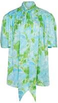Balenciaga blue and green floral logo scarf blouse
