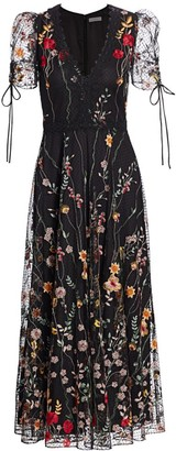 ML Monique Lhuillier Floral Embroidered Mesh Midi Dress