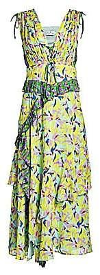 Tanya Taylor Women's Angie Abstract Print Pleated Midi Dress