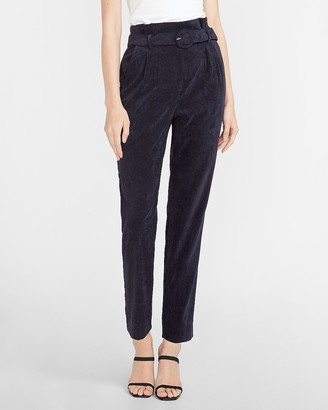Express Super High Waisted Belted Corduroy Ankle Pant