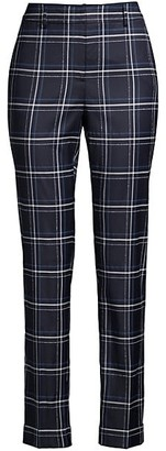 Lafayette 148 New York Clinton Plaid Cuff Pants