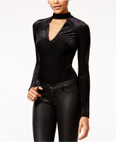 Material Girl Juniors' Shadowstripe Velvet Bodysuit, Only at Macy's