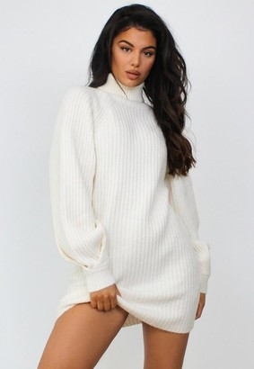 Missguided Cream Turtle Neck Tuck Sleeve Knit Sweater Dress