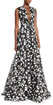 Lela Rose Fil Coupe Mesh-Inset Sleeveless Gown, Ivory/Black