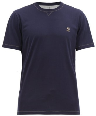 Brunello Cucinelli Embroidered-logo Cotton T-shirt - Mens - Blue