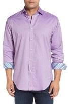 Thomas Dean Men's Classic Fit Dobby Dot Sport Shirt