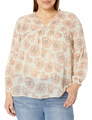 Lucky Brand Women's Size Plus Exploded Floral TOP