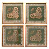 Coasters Reverse Painted Glass Set of 4 in Green, 'Colonial Jade'