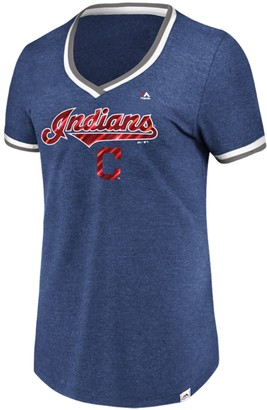Majestic Women's Navy Cleveland Indians Driven By Results T-Shirt