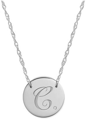 Jane Basch 14K Diamond Initial Disc Necklace (A-Z)