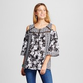 Notations Women's Mixed Printed Woven Cold Shoulder Blouse