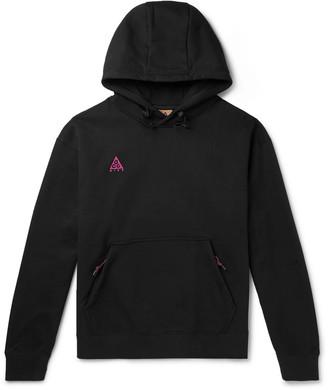 Nike Acg Nrg Logo-embroidered Fleece-back Cotton-blend Jersey Hoodie - Black
